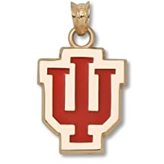 Indiana University IU 5 8 With Red Enamel - 10K Gold by Logo Art