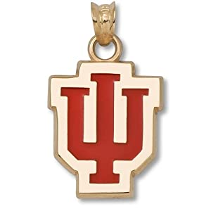 Indiana University IU 5 8 With Red Enamel - 14K Gold by Logo Art