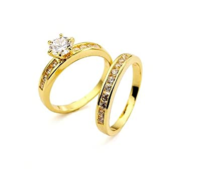 Accessories of Envy - 18ct Yellow Gold Filled 0.84ct AAA+ grade Simulated Diamond Wedding/Engagement Ring Set