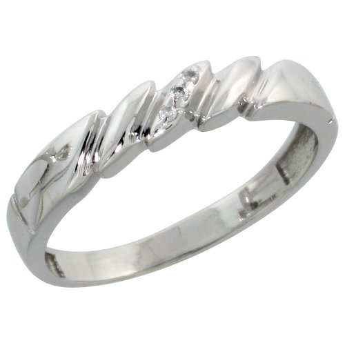 Sterling Silver Ladies Diamond Wedding Band Ring 0.02 cttw Brilliant Cut, 5/32 inch 4mm wide, Size 8.5