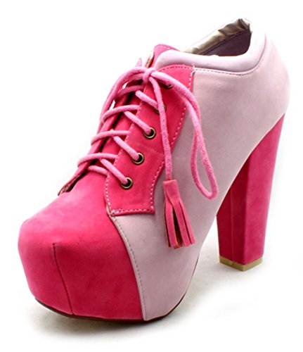Pink block heel two tone ankle boots