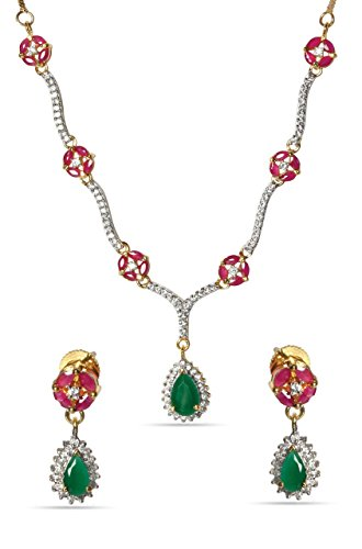 sempre-london-18k-yellow-gold-two-tone-plated-green-pink-elegant-diamonds-necklace-with-designer-ear