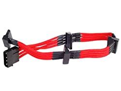 Silverstone Tek Sleeved Extension Power Supply Cable with 1 x 4-Pin to 4 x SATA Connectors (PP07-BTSR)