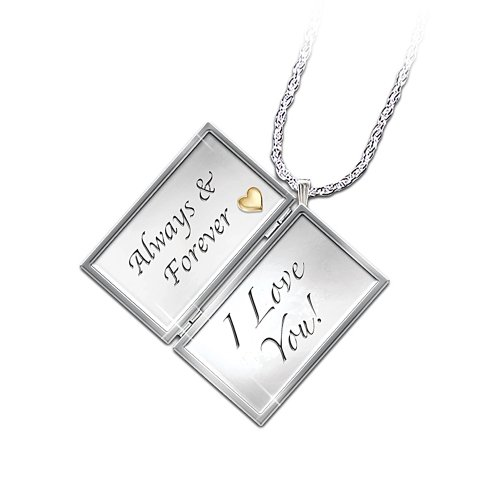 Always & Forever, I Love You Engraved Letter Locket Diamond Necklace: Romantic Jewelry Gift by The Bradford Exchange