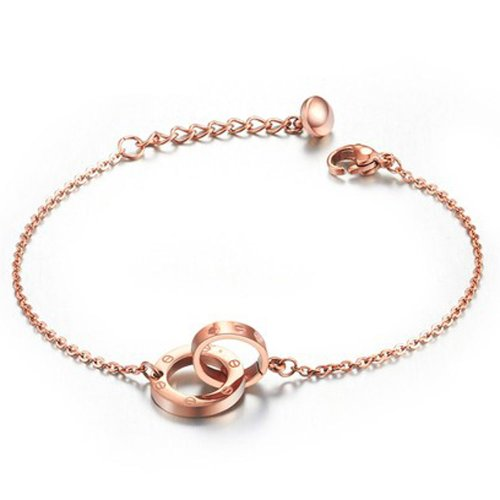 PlusMinus Women's 316L Stainless Steel Screws Pattern Interlocking Pendant Bracelets Rose Gold