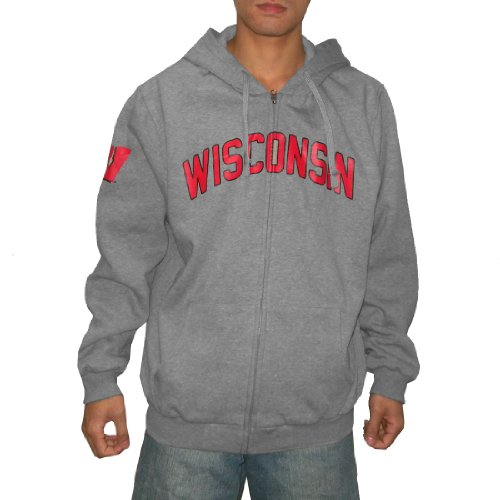NCAA Wisconsin Badgers Mens Heavy Weight Warm Zip-Up Hoodie / Sweatshirt Jacket (Size: L)