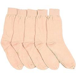 Mikado Skin Colour Cotton Full Thumb Socks for Women - 5 Pair Pack