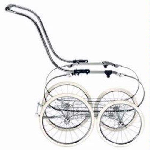 Inglesina Classica Stroller Frame With Basket, Chrome And Blue front-30974