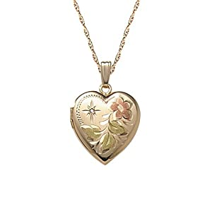 """14k Yellow Gold Filled Diamond Accent Heart Locket Pendant Necklace with Engraving, 18"""""""