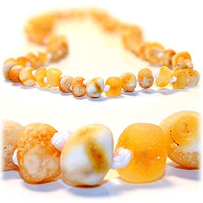 "The Art of CureTM *SAFETY KNOTTED* RAW Butter w/white flecks - Certified Baltic Amber Baby Teething Necklace - w ""The Art of CureTM"" Jewelry Pouch (SHIPS AND SOLD IN USA) by The Art of Cure"