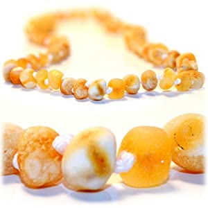 The Art of CureTM Baltic Amber Baby Teething Necklace - Raw Light Yellow & White-(Unisex) - Certified Baltic Amber Baby Teething Necklace Highest Quality Guaranteed- Anti Inflammatory, Drooling & Teething Pain. Easy to Fastens with a Twist-in Screw Clasp Mothers Approved Remedies!