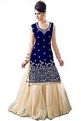 Justkartit Women's Blue & Off-White Colour Wedding Wear Stylish Dress Material / Lehenga Style Dress Material With Kurta / Indian Wedding Wear (Dual Bottom- Lehenga + Pant)
