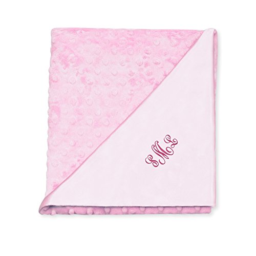 Princess Linens Deluxe Plush Receiving Blanket, Pink Print, Personalized with Baby's Name (Personalized Name Baby compare prices)