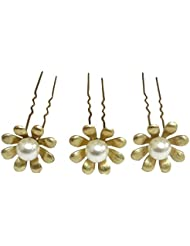VOGUE Golden Color Copper Base Korean Hair Pin Bun Hair Pin Hair Accessories Premium Quality Set Of -3