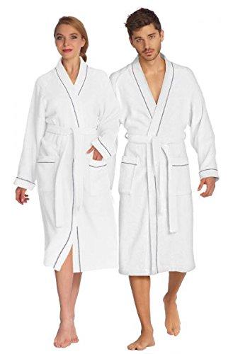 Bademantel Saunamantel Frottee 100% Baumwolle Damen Herren Kimono Athen Farbe: weiß Größe: S