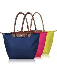 Glive's Women Shopping Long Handle Nylon Foldable Shopping Handbag Bag Buy 1 Get 1 FREE !!!! (Design & Color May...