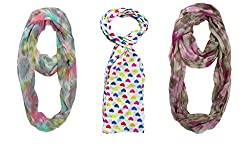 Multi-Color Printed Stoles Combo For Girls By Slover
