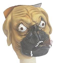 Rubber Overhead Bulldog Puppy Dog mask with Cigar Animal Fancy Dress