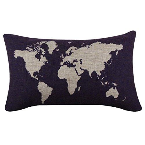 Hatop Cotton Linen World Map Decorative Cushion Cover Pillowslip Case Cover (Dark Blue 2) (32 X 24 Pillow Insert compare prices)
