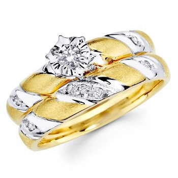 14K Yellow and White 2 Two Tone Gold Women's Round-cut Diamond Enagagement Ring and Wedding Band 2 Pieces Bridal Set (0.19 CTW., G-H Color, SI Clarity)