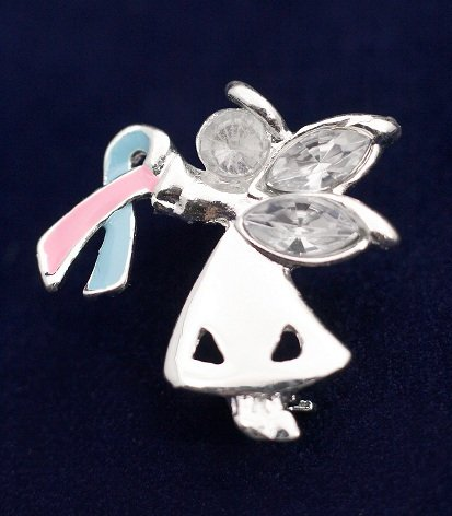 Pink and Blue Ribbon Pin-Angel By My Side (27 Pins)