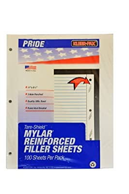 Kleer-Fax Tare-Shield Mylar Reinforced Filler Paper, Unruled, 50# White Offset, 11 x 8-1/2 Inches, 100 Sheets per Pack (20005)