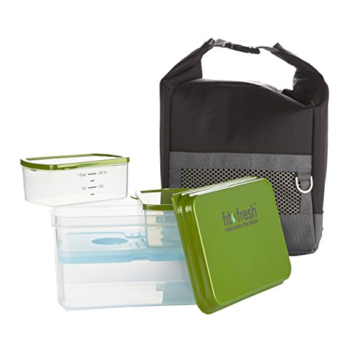 Fit & Fresh Sporty Insulated Lunch Bag Kit with Reusable Containers - 1