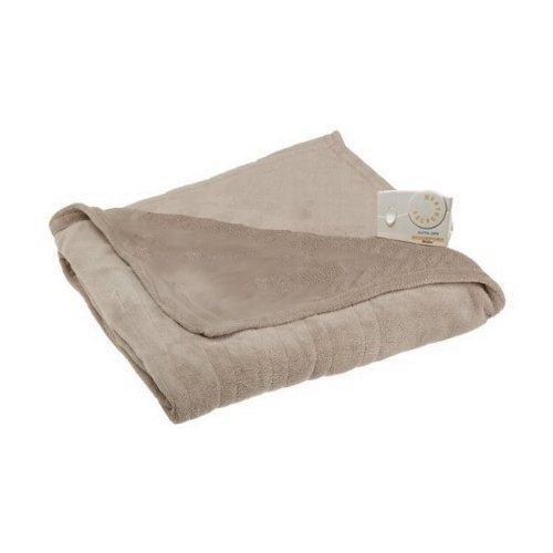 Biddeford 13205 Micro Plush Heated Electric Full-Size Blanket, Linen.