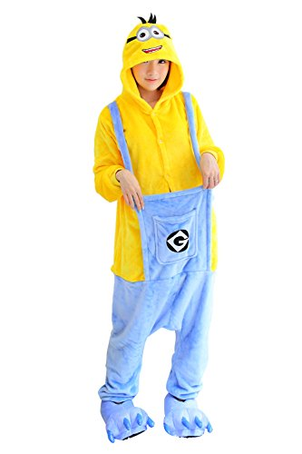Adult Cartoon Minions Cosplay Halloween Costume Pajamas Onesies