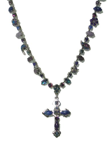 Amaro Jewelry Studio 'Rainy Skies' Collection Rhodium Plated Necklace With Stylized Cross Pendant, All Crafted with Amethyst, Sodalite, Lapis Lazuli, Lavender, Blue Agate, Purple Jade, Blue Abalone, Blue Cat's Eye and Swarovski Crystals