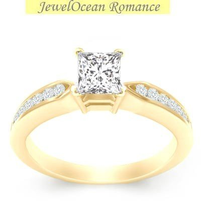 0.58 Carat Diamond Engagement Ring with Princess cut Diamond on 14K Yellow gold