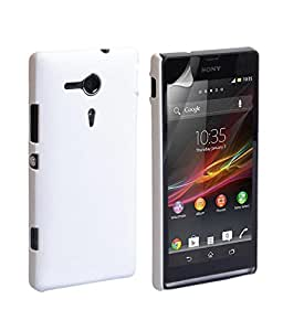 Generic Rubberised Matte Frosted Hard Back Case Cover with Screenguard For Sony Xperia SP M35h -White