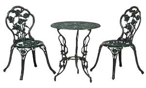 タカショー テーブルセットローズ 青銅色 60φ(テーブル1台、チェアー2脚)