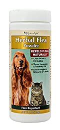 NaturVet Natural HERBAL FLEA POWDER for Dogs & Cats Also Great for Bedding 4 oz