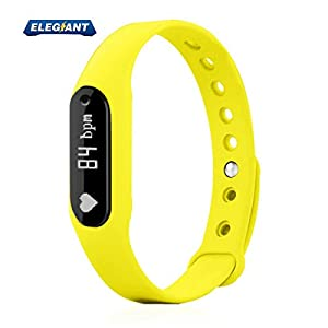 Fitness Tracker, ELEGIANT Smart Bracelet Wireless Activity Wristband Sports Watch Bluetooth For Android IOS With Steps Tracking Calories Burned Sleep Monitor Heart Rate etc. Yellow-NEW