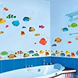 Home Decor Mural Art Wall Paper Stickers -Cartoon fish PST2019