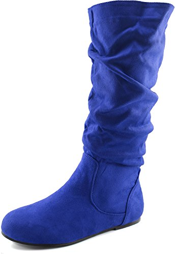 Women's Mid Calf Slouch Faux Suede Comfortable Slip On Round Toe Flat Heel Knee High Boots Fashion Shoes, Blue Seude
