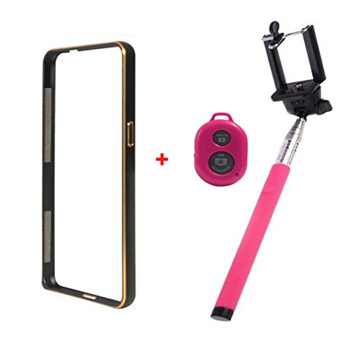 Dual Tone Circular Arc Shaped Metal Bumper Case Cover For SAMSUNG S4 MINI I9190 With HotPink color Bluetooth Remote Shutter Monopod Selfie Stick
