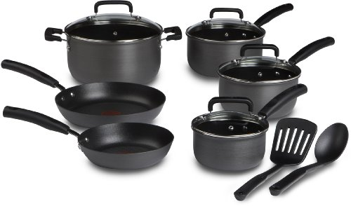 T-fal D913SC Signature Hard Anodized Scratch Resistant PFOA Free Nonstick Thermo-Spot Heat Indicator Cookware Set, 12-Piece, Gray (Pan Set Anodized compare prices)