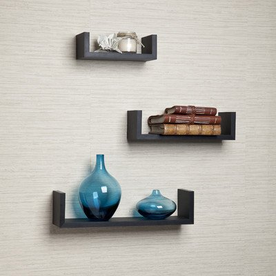 Danya B. Black Laminate Floating U Shelves (Set of 3 Pieces)
