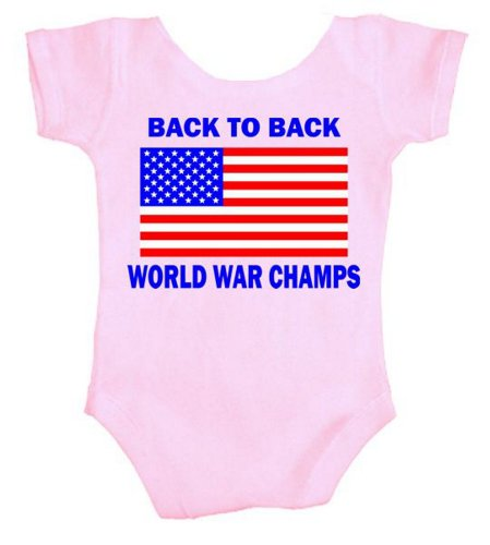 TeeShirtPalace Back to Back World War Champs Infant Body Suit Pink 6 Months