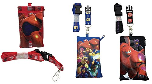 Disney Big Hero 6 Set of 3 Hiro, Baymax Mech, Wasabi, Honey Lemon, Go Go, and Fred Id Holder Wallet Perfect for Disneyland