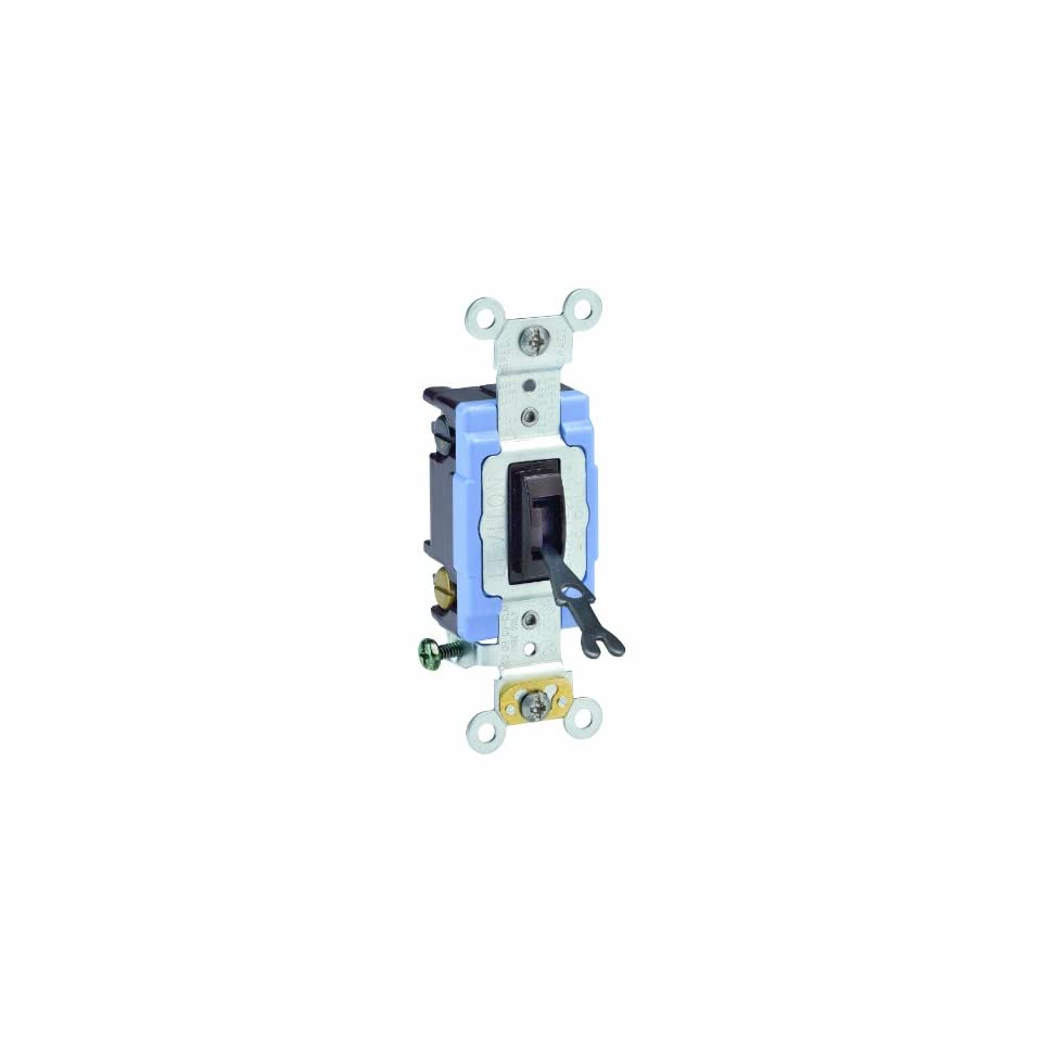 Leviton 1202 2L 15 Amp, 120/277 Volt, Toggle Double Pole AC Quiet Switch, Extra Heavy Duty Grade, Self Grounding, Back and Side Wired, Brown