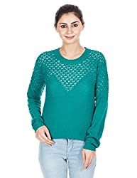 Elle Women's Body Blouse Shirt (Eefl0022_Green_Medium)