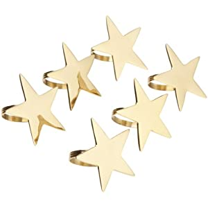 DII Gold finish 5-Point Star Napkin Ring, Set of 6