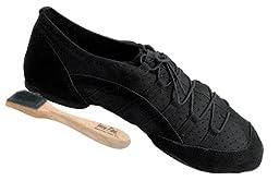 Men\'s Women\'s Salsa Ballroom Latin Zumba Hip Hop Dance Sneakers Style VFSN005 Bundle with Dance Shoe Wire Brush, Black 9.5 M US