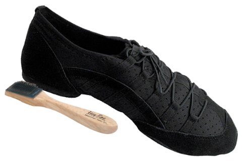 Men'S Women'S Salsa Ballroom Latin Zumba Hip Hop Dance Sneakers Style Vfsn005 Bundle With Dance Shoe Wire Brush, Black 10 M Us
