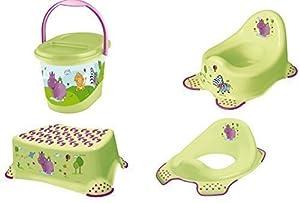 4er Set Hipo verde Orinal de niño + Reductor De Inodoro + Banquillo + Contendedor para pañales