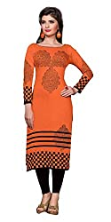 Shree Vardhman Presents Cotton Stitched Kurti(Orange)