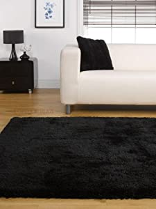 "Soft Heavy Thick Large Shaggy Rug Black Colour in 120 x 170 cm (3'11"" x 5'7"") Carpet by Lord of Rugs"